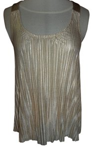 Weavers Bow Pleated Top Gold and Bronze