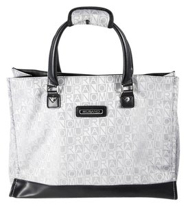 Murano Black Canvas Leather Protective Feet Tote in gray