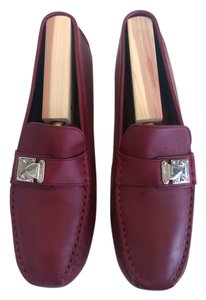 Louis Vuitton Loafer Leather Silver Hardware Excellent Condition Red/Burgundy Flats