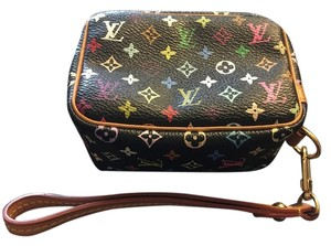 Louis Vuitton Wapity Case Wallet Pochette Takashi Murakami Limited Edition Collectible Zippy Card Case Cosmetic Pouch Charm Pouch Wristlet in Monogram Multicolor BLACK