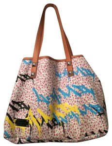 L.A.M.B. Tote in White,tan,pink,blue,yellow