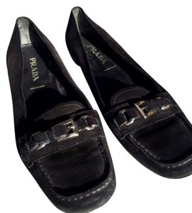 Prada Loafers Buckles Silver Black Flats