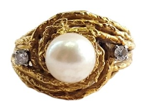 Other 14KT Yellow Gold Estate Ring with Pearl Accent