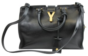 Saint Laurent Leather Removable Strap Satchel in Black