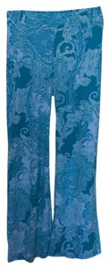 Casual Palazzo Stretch Wide Leg Pants Aqua Marine Print