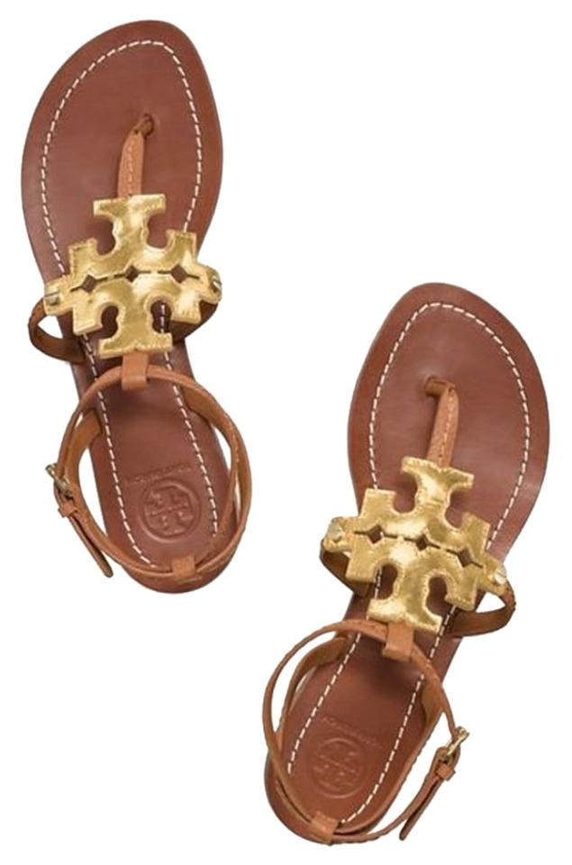 d8b5f886ab0 Tory Burch Tan Brown Gold Leather Royal Logo Chandler Flats Strappy Sandals