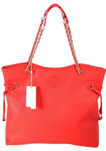 Tory Burch Marion Slouchy Leather Tote Goldtone Hardware Chain Leather Straps Hobo Bag