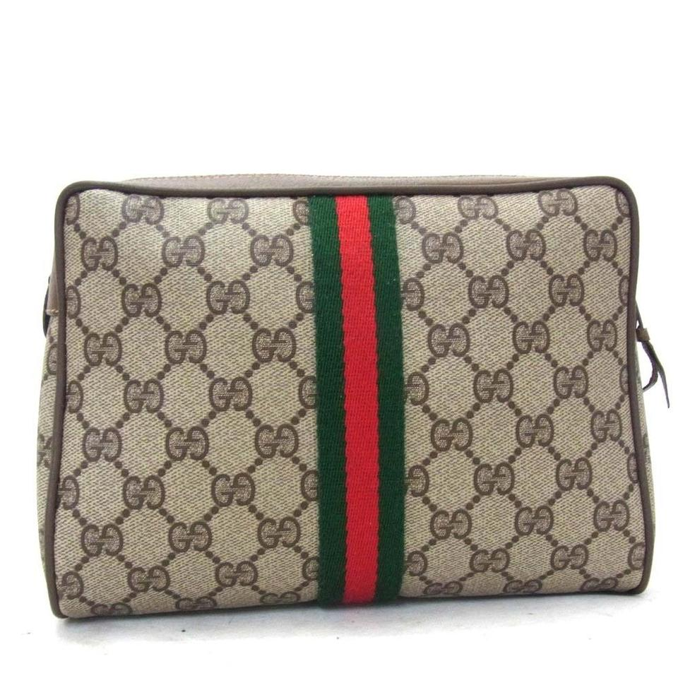 34e5d4a4d53 Gucci Vintage Monogram Pattern Clutch Pouch Purse Pochette Made In Italy Cosmetic  Bag