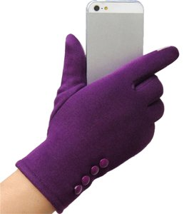 Purple Touch Screen Friendly Adult Stretch Gloves Free Shipping
