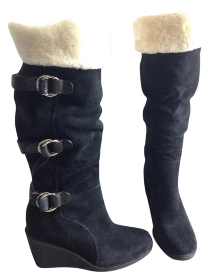 7b45ce185c1b Cole Haan Black Nike Suede Wedge Michelle Tall Shearling Womens  reduced  Boots Booties
