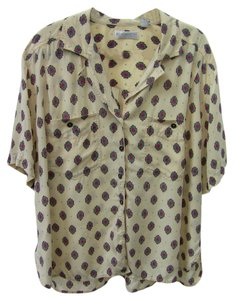 Liz Claiborne Top red, beige, brown, green