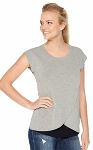 Motherhood Maternity Motherhood Maternity Tiered Nursing Top Gray Size M NWT
