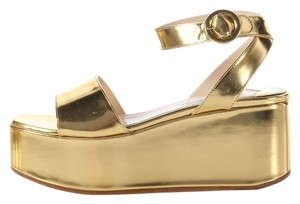 Prada Metallic Leather Buckle Pr.j0817.11 Wedges Platforms