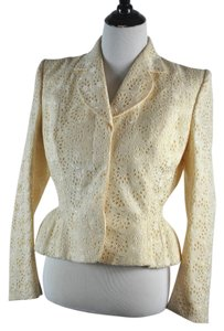 John Galliano Vintage Floral Embroidered Perforatd Con Blend Jacket Size 42 Ivory Blazer