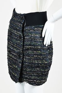 Proenza Schouler Black Green Mini Skirt Multi-Color