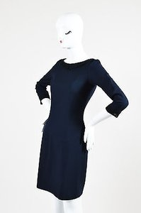 L'Wren Scott Navy And Black Lace Pointed Flat Collar Cocktail Dress