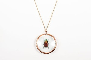 Mattijs Van Bergen Copper Glass Torynorrhina Flammea Beetle Necklace