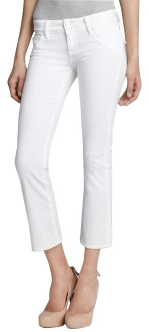 """Item - White Light Wash Crop """"Baby Boot"""" Capri/Cropped Jeans Size 28 (4, S)"""