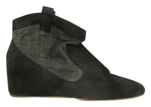 80%20 Hidden Platform Canvas Leather Bootie Black Wedges