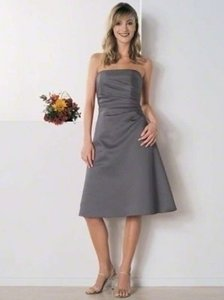Alfred Angelo Charcoal Satin 6129 Formal Bridesmaid/Mob Dress Size 8 (M)