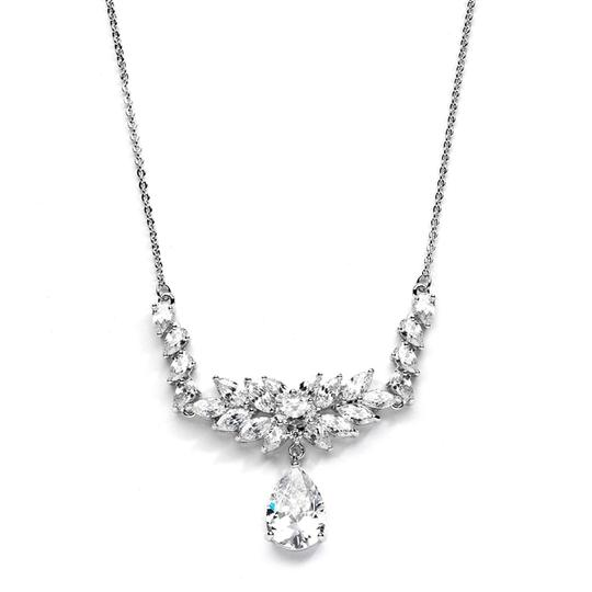 Silver/Rhodium Chic Marquis Crystal Fan Necklace