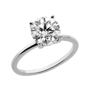 White 1.5 Cts Solitaire In 14k Gold Engagement Ring