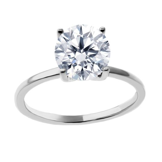 White 1.5 Cts Solitaire In 14k Gold Engagement Ring Image 2