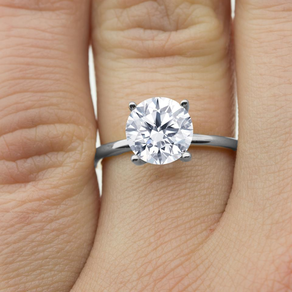 15 Cts Solitaire Engagement Ring In 14k White Gold