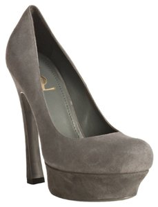Saint Laurent Grey Suede Platforms
