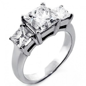 3.24 Tcw Princess Cut Natural 3 Stone Engagement Diamond Ring 14k White Gold