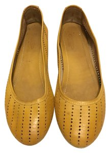 Geste Perforated Leather Mustard Flats