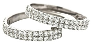 Other 2.60 tcw Round Cut Double Row Natural Real Diamond Hoop Earrings 18K White Gold