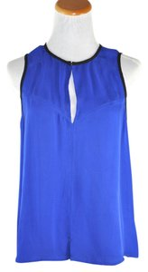 A.L.C. Blue Silk Blousr Black Trim Size M Top Royal Blue