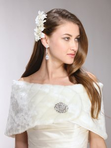Luxurious Couture Retro Chic Faux Mink Wrap In Pure White, Ivory Cream, Oyster Beige Dress