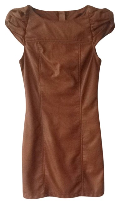 Item - Brown Faux Leather Mid-length Night Out Dress Size 4 (S)
