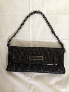 Betsey Johnson Betsy Black with Silver Chain Clutch
