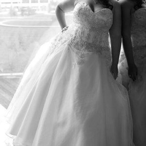 Allure Bridals White/Silver Organza Petite Feminine Wedding Dress Size 18 (XL, Plus 0x)