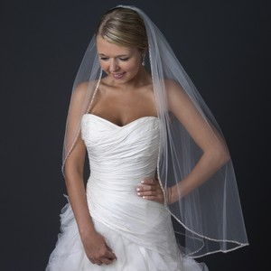 Elegance By Carbonneau Ivory Fingertip Wedding Veil With Beaded Edge.