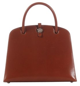 Hermès Brown Flap Palladium Leather Satchel