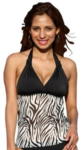 UjENA UjENA Tankini Top Size 1X Black White Sheer Zebra Open Back