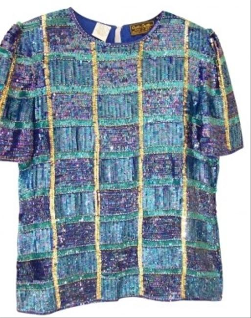 creative creations Top blue multi