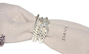 David Yurman David Yurman Diamond Crossover Ring Open Shank Ring Size 6-7