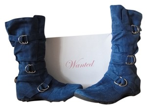 Wanted Suede Midcalf Buckles Fall Blue Boots