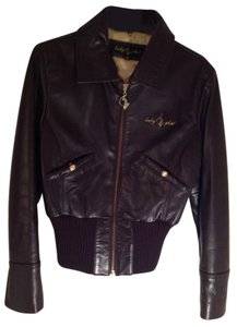 Baby Phat Brown with gold stitching Leather Jacket