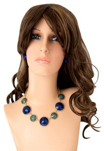Circular Bib Necklace and Earring Set/Blue