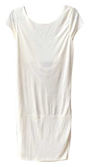 Item - Cream Silky Knee Length Night Out Dress Size 12 (L)
