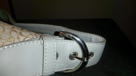 Coach Small Monogram Tan Satchel in Gray Leather
