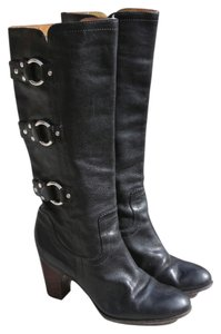Frye Leather Studded Fiona Three Strap Black Boots