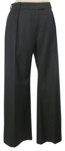 Chloé Pinstripe Wool Wide Leg Pants Brown