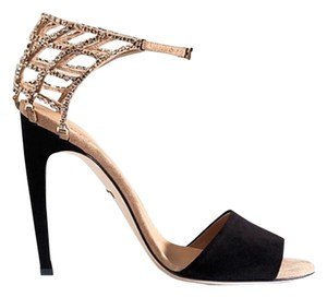 Gucci Open Toe Crystal Suede Black Sandals